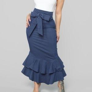 maxi ruffle medium wash denim skirt